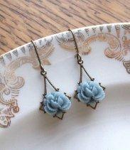 Dusty blue earrings - www.etsy.com/shop/fromthevine