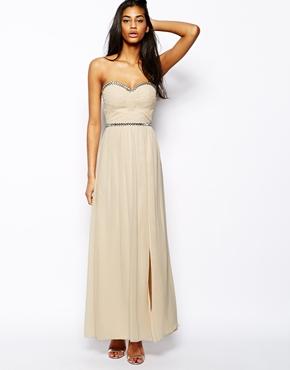 Little Mistress bandeau maxi dress with embellishment - asos.com