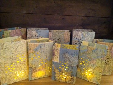 Map luminaries - www.etsy.com/shop/Oldendesigns