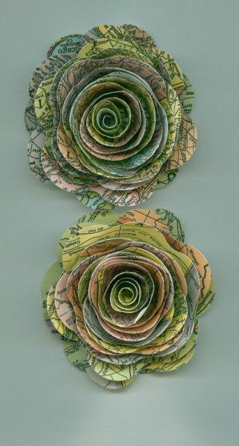 Paper map flowers - www.etsy.com/shop/crazy2becrazy