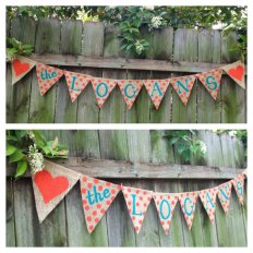 Customised turquoise and orange banner - www.etsy.com/shop/TwoDoodlesDesigns