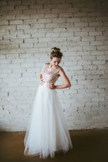 Gold sequin and white tulle wedding dress - www.etsy.com/shop/ouma