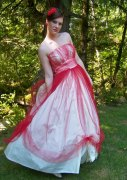 Red and white vintage wedding dress - www.etsy.com/shop/Cupidsarrow