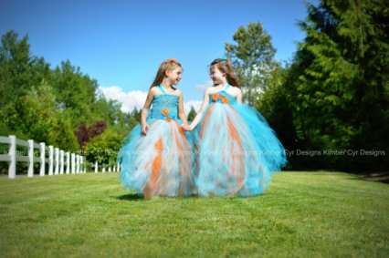Turquoise and orange flower girl dresses - www.etsy.com/shop/kimbercyr