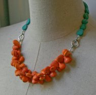 Turquoise and orange necklace - www.etsy.com/shop/FiorellaJewelry