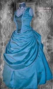 Blue steampunk wedding dress - www.etsy.com/shop/Harlotsandangels