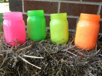 Neon mason jars for centrepieces - www.etsy.com/shop/NobleDippyDesigns
