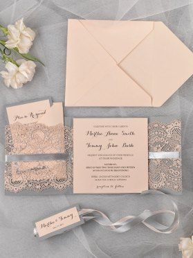 Peach and grey lace wedding invitation - www.etsy.com:shop:4LOVEPolkaDots