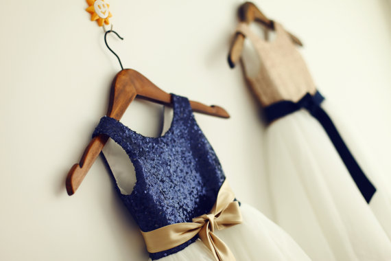 Navy sequin and gold flower girl dress - www.etsy.com/shop/autoalive