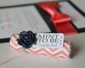 Coral and navy mint candy favours - www.etsy.com/shop/MintFavorsAndMore