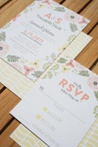 Floral wedding invitation - www.etsy.com/shop/LollieJDesign