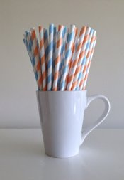 Peach and light blue paper straws - www.etsy.com/shop/PuppyCatCrafts