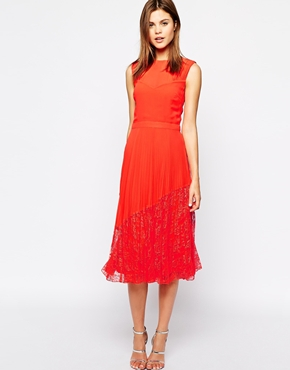 Warehouse lace-hem midi dress, from asos.com