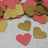Coral and gold heart table scatters - www.etsy.com/shop/LucyBirdy