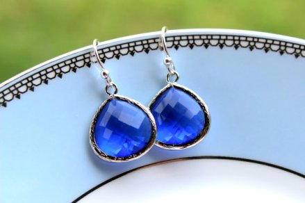 Cobalt and silver earrings - www.etsy.com/shop/laalee