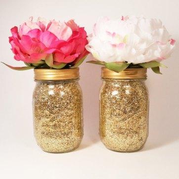 Gold glitter mason jar centerpieces - www.etsy.com/shop/LimeAndCo