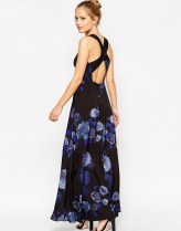 ASOS Cross Back Maxi Dress in Smokey Floral Print - asos.com