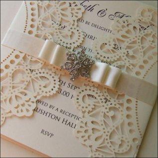 Cream wedding invitation - www.etsy.com/shop/WeddingParaphernalia