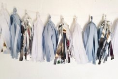 Dusty blue, silver and white tassel garland - www.etsy.com/shop/SilverlakeSisters