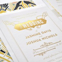 Gold foil letterpress wedding invitation - www.etsy.com/shop/hellotenfold