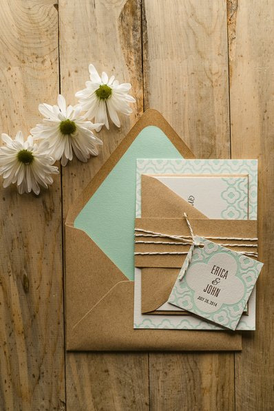 Mint wedding invitation - www.etsy.com/shop/FlairNecessities