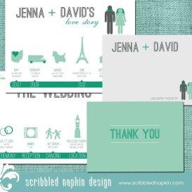 Mint and emerald wedding invitation - www.etsy.com/shop/ScribbledNapkin