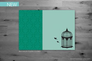Mint and emerald wedding invitation - www.etsy.com/shop/vicentinedesign