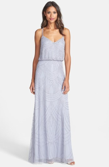 Silver Adrianna Papell beaded chiffon bridesmaid dress - nordstrom.com