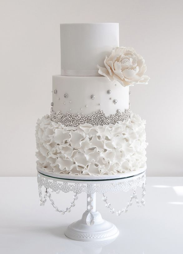 White and silver wedding cake inspiration  via deerpearlflowers com         586      816 in Silver and white wedding