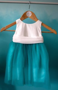 White and teal flower girl dress - www.etsy.com/shop/EKBRIDAL