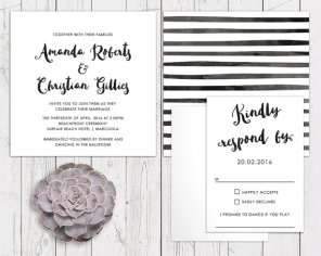 Black and white wedding invitation - www.etsy.com/shop/PeachPerfectCards