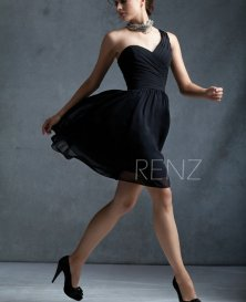 Black one-shoulder bridesmaid dress - www.etsy.com/shop/RenzRags
