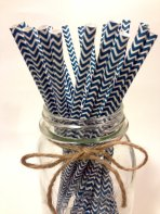 Midnight blue chevron paper straws - www.etsy.com/shop/TamsCorner