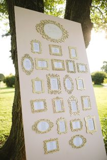 Gold framed seating plan {via southernweddings.com}