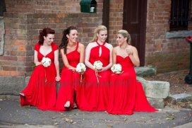 Red full-length convertible bridesmaid dresses - www.etsy.com/shop/OrangeBlossoms212