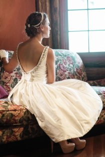 Silk backless reception dress/short wedding dress - www.etsy.com/shop/FrenchKnotCouture