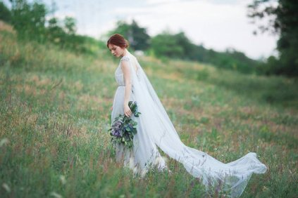 Silk wedding dress with a tulle train - www.etsy.com/shop/CarouselFashion