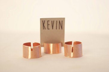 Upcycled copper pipe placecard holders - www.etsy.com/shop/SnakeInChest