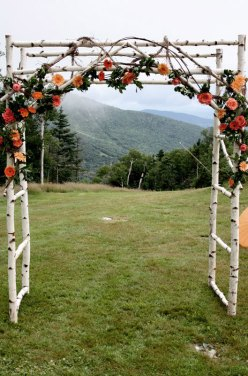 Birch wooden wedding arch - www.etsy.com/shop/blueskiesforever