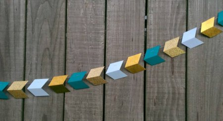 Teal and gold geometric arrow garland - www.etsy.com/shop/CarismaticDesigns