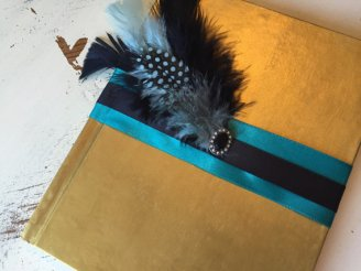 Teal and gold guestbook - www.etsy.com/shop/TreasuredInTime