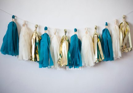 Teal, gold and ivory tassel garland - www.etsy.com/shop/LoveGarlands
