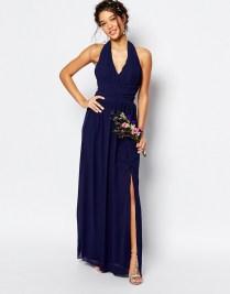 TFNC navy halterneck bridesmaid dress - asos.com
