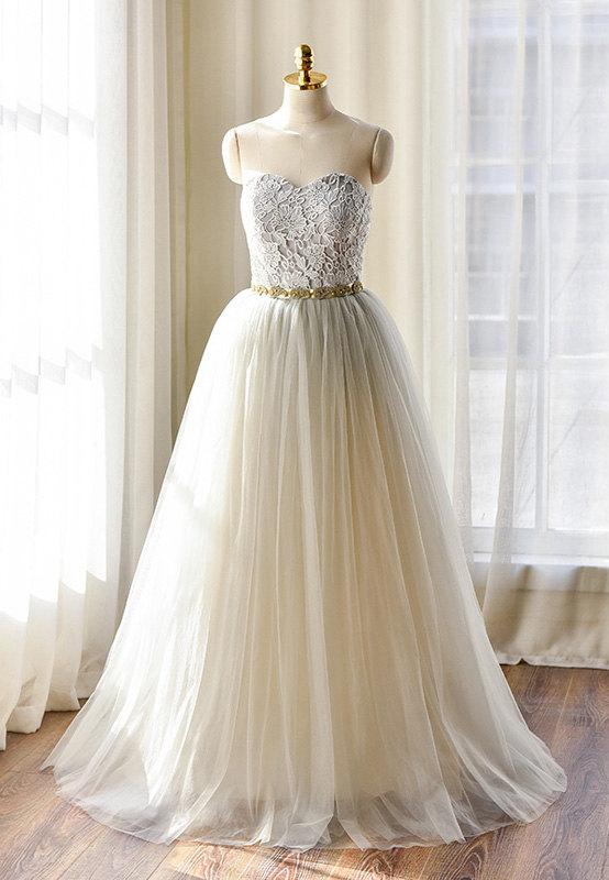 Light Grey Lace Wedding Dress 475 Wwwetsycomshop