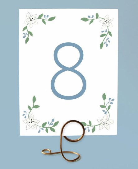 Cornflower blue downloadable table numbers - www.etsy.com/shop/leveretpaperie
