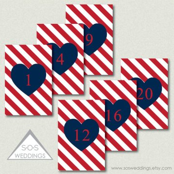Red and navy downloadable pdf table numbers - from www.etsy.com/shop/sosweddings