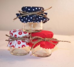Red and navy wedding favour jars - from www.etsy.com/shop/melysweddings