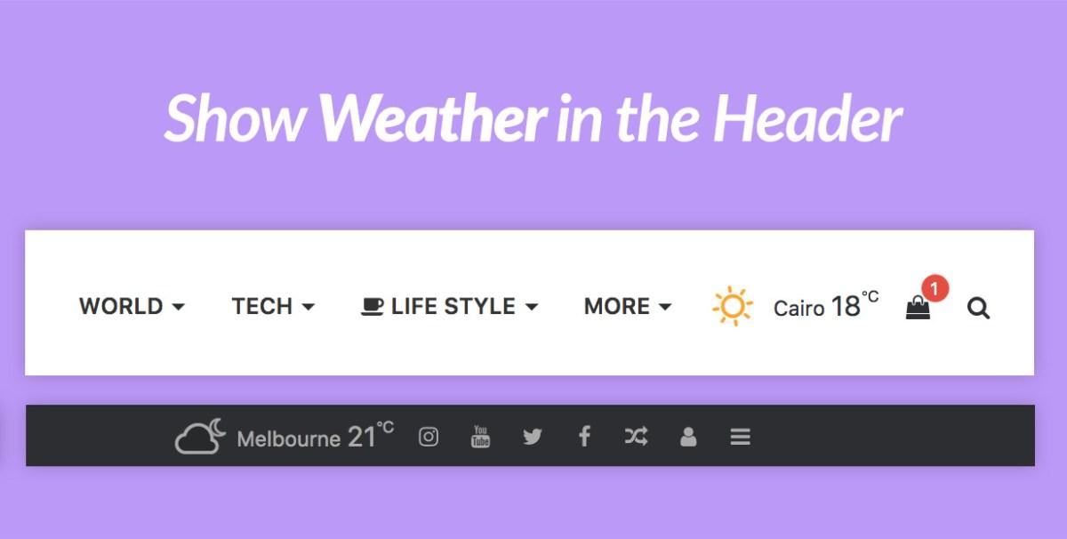 Weather in Header