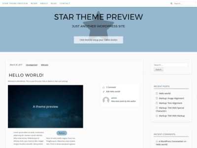 The theme has a top menu and a large header area with an icon in the background. The theme is white and light grey with blue accent colors. The theme has a sidebar next to the content.