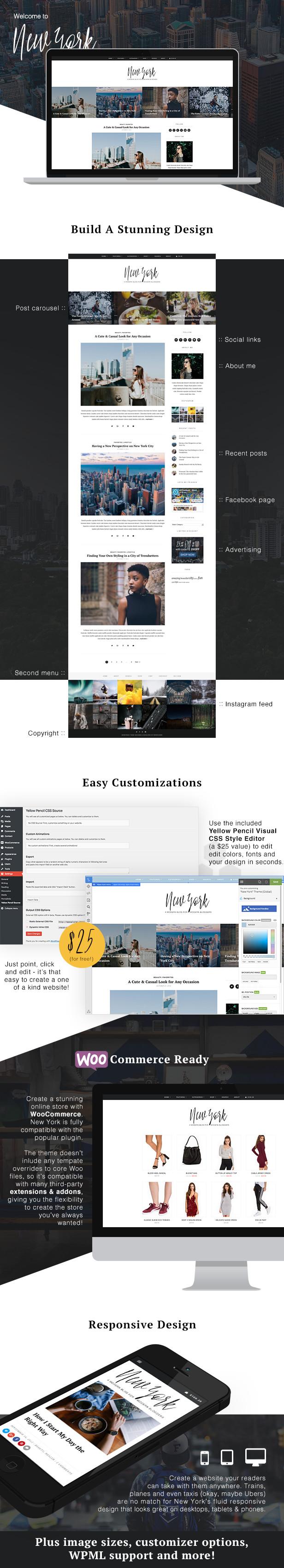 New York WordPress Theme Features